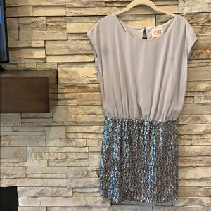 Gianni Bini gray with silver sequence dress